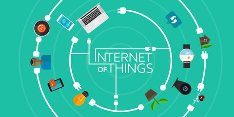 Obraz Internet of Things flat iconic illustration - fototapety do salonu