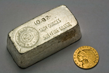 Old Silver Bullion Ingot and 1911 United States $5 Gold Coin