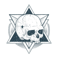Abstract Hipster Skull Art