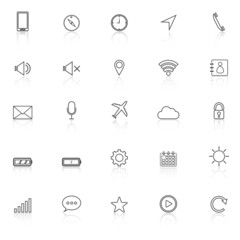 Mobile phone line icons with reflect on white background