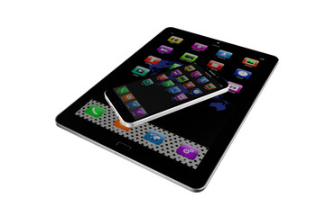 Tablet  with  mobile phone colorful application icons, isolated