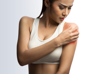 young woman with shoulder pain, on white with clipping path