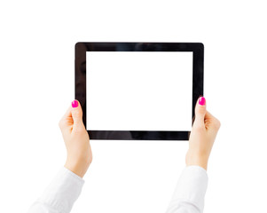 Woman holding tablet computer horizontally