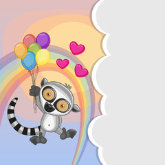 Lemur with balloons