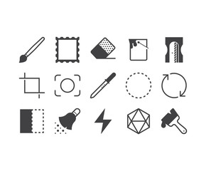 Set of thin mobile icons for image applications