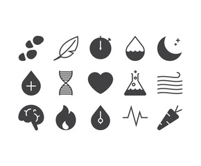 Set of thin mobile icons for smart health