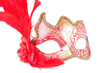 Masquerade red mask on a white background