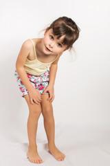 Preschooler girl in shorts and tank top