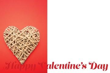 Composite image of wicker heart ornament
