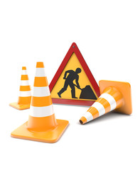 Road works, traffic cones and sign