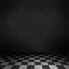 Dark room background with black and white checker floor
