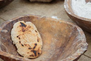 Spelled (einkorn) bread with stamped drawings