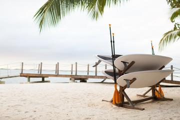 surfboards on tropical beach