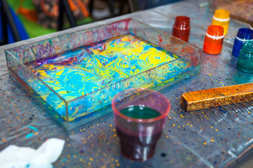 Items, paints and accessories for ebru water marbling