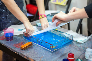 Process of printing inks from water surface in silk, ebru art