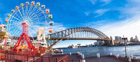 Printed roller blinds Sydney Luna park wheel with harbour bridge arch in Sydney, Australia.