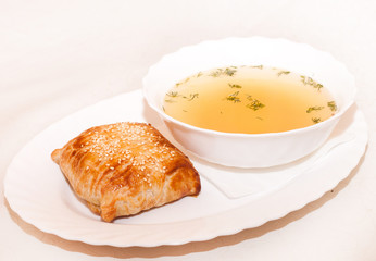 Delicious soup with croutons