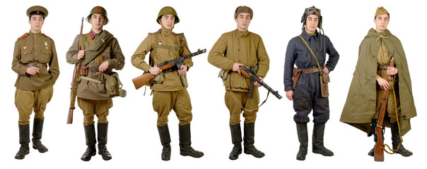 different Soviet soldier uniforms during World War II