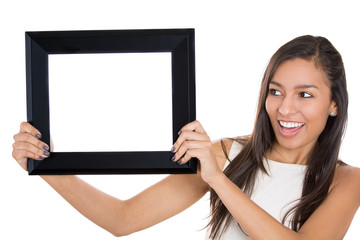 Closeup portrait beautiful woman holding picture frame