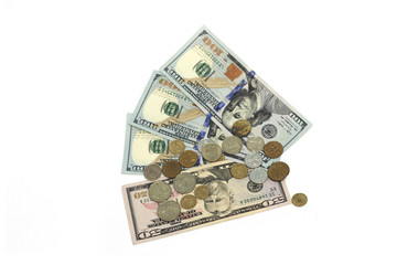 U.S. dollar and small coins. Photo.