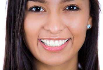 Closeup headshot young beautiful smiling happy woman
