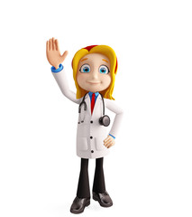 Female doctor with saying hi pose