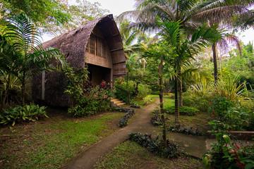 Small hut in butterfly garden