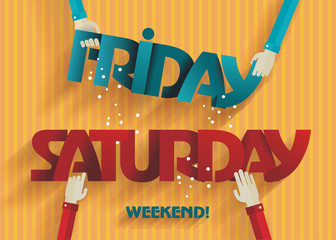 Weekend Coming - Flat Design - Vector