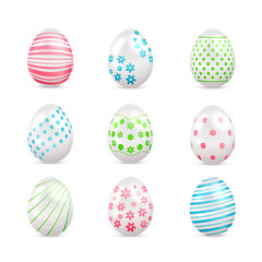 White Easter eggs with decorated elements
