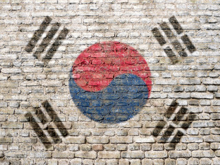 South Korean flag painted on wall