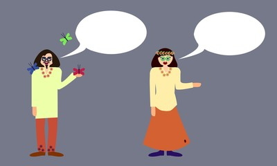 Couple of hippies with communication bubble isolated on gray