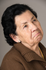 portrait of old cranky woman grandmother