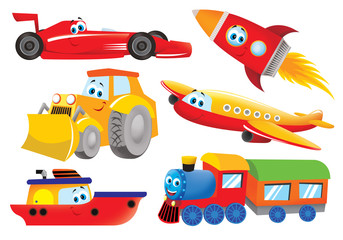 plane, bulldozer, train, rocket, ship, racer for kids