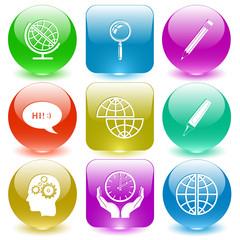 globe, magnifying glass, pencil, chat symbol, shift globe, felt