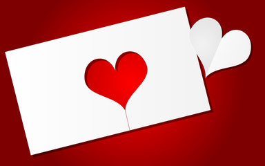 Red background with paper heart