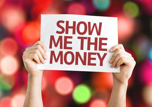 Show Me The Money card with colorful background