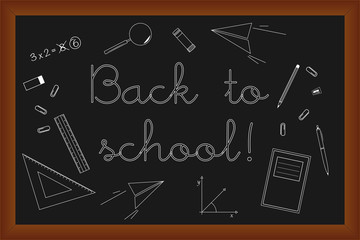 Back to school doodles set on black board, vector illustration