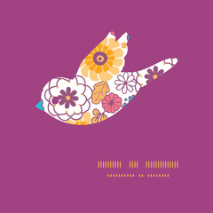 Vector colorful oriental flowers bird silhouette pattern frame