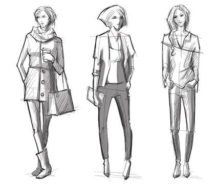 Fashion hand drawn illustration. Vector sketch.street fashion.