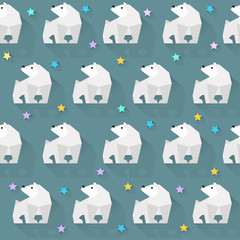 vector pattern background with  white bear and stars