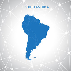 South America map, communication background . Vector