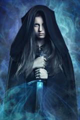 Beautiful dark woman and magic powers