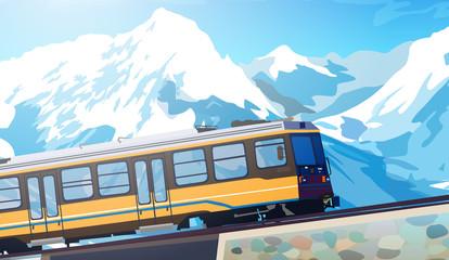 Wall Mural - Train in high mountains