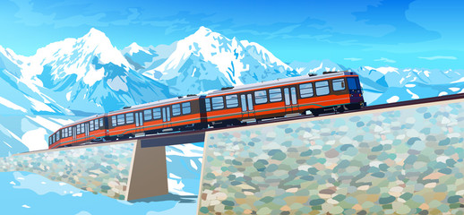 Wall Mural - Train in high Alps mountains