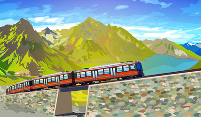 Fototapete - Train in high Alps mountains