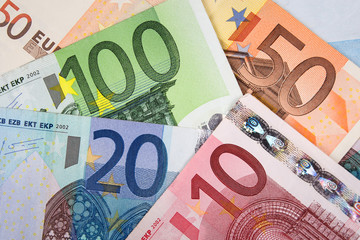 Euro banknotes with various denomination