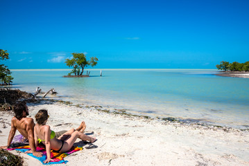 Young Couple in love at Holbox Island, Mexico. Traveling America