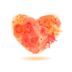 Vector Splash_heart. Valentines Day card template