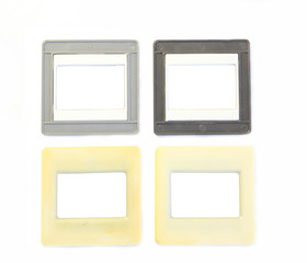Four old plastic frame for slides