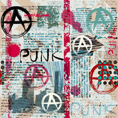Grunge newspaper with word Punk.